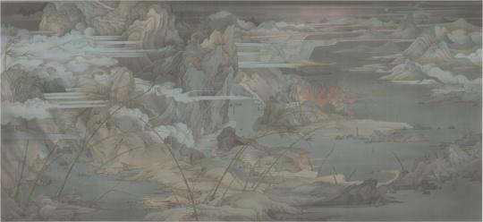 《潇湘八景——士游》 387 x 184 cm 绢本水墨 2016