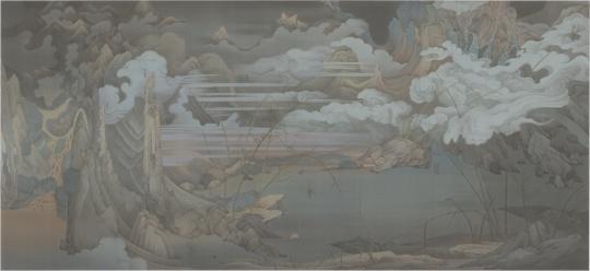 《潇湘八景——寰宇》 387 x 184 cm 绢本水墨 2016