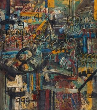 Lot 344 王易罡 《作品1994·38号》 200×180cm 布面油彩 1994  估价:8万-15万元