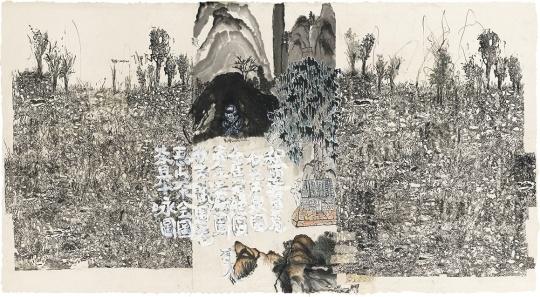 Lot 353 刘炜 《风景2005 NO.3》 99×184cm 纸本综合材料 2005  估价:200万-250万元