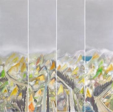 Lot 366 黄宇兴 《少年期惊蛰(四条屏)》 180×45cm×4 布面油彩 2002  估价:20万-30万元