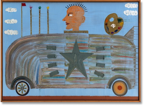 Lot 367 欧阳春 《绘画快车》 180×250cm 布面油彩、丙烯 2005  估价:25万-30万元    唐丽莉:这个时期的欧阳春是我最喜欢的,他画的确定、轻松、毫无负担。作品里的真诚和童真就在那,现在市场不好,这么大尺幅的这个价格,真心不贵。