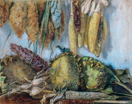 LOT100 李超士 《丰收》 46×57cm 纸本色粉 1954  估价:38万—58万元
