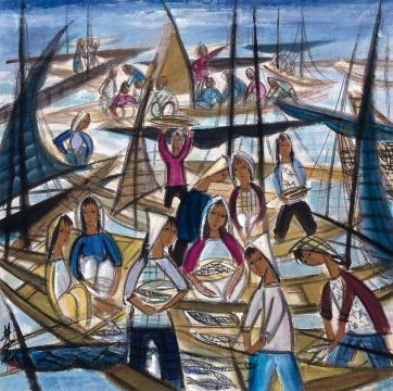 LOT103 林风眠 《渔获图》 67×67.5cm 纸本彩墨 1960年代  估价:400万—600万元