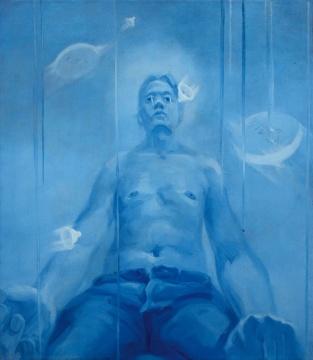 LOT110 谢南星 《十滴眼泪与十个自扮像之五》 150×130cm 布面油画 1997  估价:60万—80万元