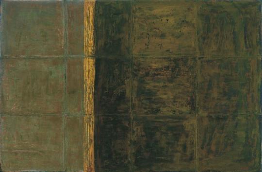 LOT112 苏笑柏 《玄秋》160×244cm 油画 大漆 麻布 木板 综合材料 2006  估价:80万—120万元