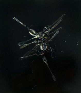 LOT113 冷军 《突变:有刺的汤匙》 80×70cm 布面油画 2001  估价:200万—300万元