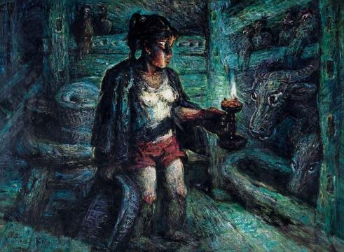 LOT116 罗中立 《掌灯》 96×130cm 布面油画 1998  估价:160万—200万元