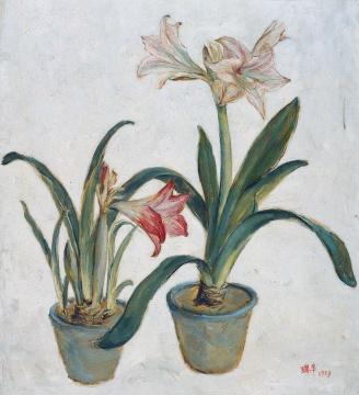 LOT22 李瑞年 《朱顶红》 68×61cm 布面油画 1959  估价:68万—88万元