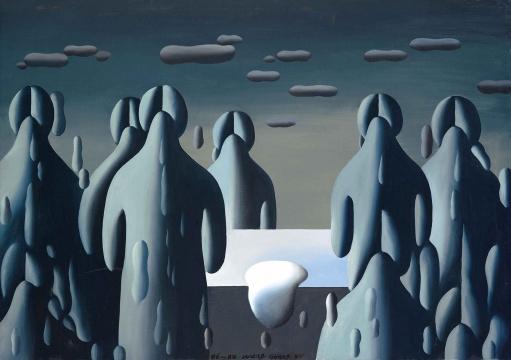 Lot 140 王广义 《凝固的北方极地——大玩偶》 80.5×112cm 布面油画 1986-1988  估价:320万-420万元    李苏桥:广义的这件作品《凝固的北方极地》,在中国当代美术史的地位与意义的重要性已经不用再更多强调了,我个人更关心这件作品在今天的市场表现,它上次出现在拍卖市场上的时候恰逢08年金融危机后,说实话,那时候市场跌到谷底,成交价不到300万,此次再度进入市场,估价相当谨慎,希望有一个很好的表现,通过一件作品判断F4们的市场是否走出谷底很难,但还是值得期待与参考。  王从卉:在目前的市场环境下还能来一场名单颇为齐整的'85新潮专场着实不易。 每次看到王广义80年代末的作品,总是无法和那个政治波普口号的图像符号并列为一人之作。 那时的王广义作品充满着庄严而崇高的宗教感和形式感,借得超现实主义一缕魂,人被统一抽象,如树、如碑、如魂灵,在天地间步入远方。果然画如题,《凝固的北方极地——大玩偶》。 纯度很高的精神气质令人屏息,不禁遥想80年代末那是怎样一个以哲学为日常的高级年代。  伍劲:作为'85美术新潮的代表性人物,王广义的《凝固的北方极地》系列是他标志性的系列,要收藏中国当代艺术30年的藏家,一定都会注意到这件作品。    推荐作品三:耿建翌 《灯光下的两个人》——既有强烈的时代感,又穿越时空