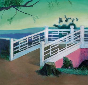 """Lot 109 王兴伟 《小桥》 170×178cm 布面油画 2003  估价:150万-200万元    黄予:王兴伟作为中国""""观念绘画""""的代表人物,在这幅《小桥》上体现的淋漓尽致,也正是因为这件2003年时期创作的风景作品,成为他的一系列""""坏画""""风格的另类""""好画"""",也成为他阶段性创作的一件代表作品,在艺术家的艺术创作中具有特殊的意义,相信会有一个比较理想的成交价格。"""