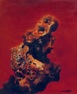 Lot 54 周春芽 《太湖红石》 73×60.5cm 布面油画 1995  估价:80万-120万元    王从卉:90年代的芽叔浑身都是才气,一挥笔都是精彩。初看《太湖红石》,如遇灵石之内孕育的天地灵猴,吸取千年天地精华,即刻将彻底幻化成猴王,盘踞石上,引颈后望。周围一团火红,预示着天地间将显一个千年不遇的齐天大圣,搅得那天地大乱。这哪里是什么瘦、漏、透的太湖红石,分明是一块妖仙合体的神石。画面黑红之间充满呼之欲出的张力,笔触时而浑厚揉转、时而铿锵顿挫,石之粗粝,气之韵动皆随心所欲。    推荐作品十三:李超士 《丰收》——应该被纳入20世纪绘画的系统收藏