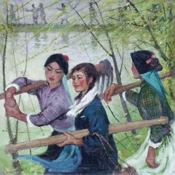 Lot 107苏天赐 《春风杨柳万千条》 110×110cm 布面油画 1960年代(©夜场)  成交价:747.5万元