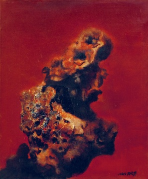 "Lot 54 周春芽 《太湖红石》 73×60.5cm 布面油画 1995(©20C及当代)  成交价:126万元    作为仅有的两位出现在夜场中的70后年轻艺术家,谢南星(b.1970)的《十滴眼泪与十个自扮像之五》和仇晓飞(b.1977)的《陈迹》分别以62万和180万落槌。  但""20世纪及当代""板块拍场后半段,却接连好几件作品无人问津,以至流拍。这其中不乏很多指标艺术家的作品,如:王广义《大批判:迪士尼》、尹朝阳《青春系列:影子》&《乌托邦》、段建宇《风景NO.9》、陈彧君《临时家庭——礼堂NO.1》、欧阳春《低等妓院》等;夜场中王兴伟《小桥》、王沂东《待嫁的姑娘》、罗中立《掌灯》流拍。"
