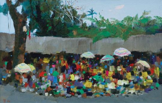 Lot 106 吴冠中 《印尼小市》 60×93cm 布面油画 1994(©夜场)  流拍