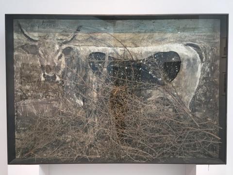 《欧洲牛》 200×200×30 cm 油彩,乳化剂,虫胶稻草 私人藏品 1994 – 2010