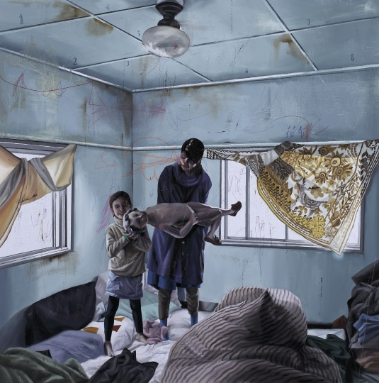时永骏 《居家示范.B-房间里的假人偶》 130×130cm 布面油画 2016