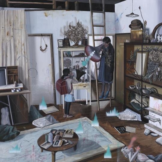 《居家示范.C-客厅里的2个喇叭》 160×160cm 布面油画 2016