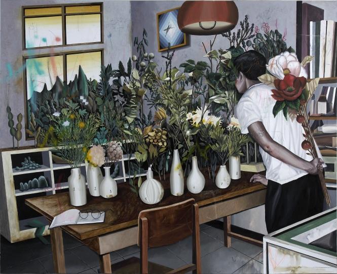 《植物学.C-赏花》 82×227cm 布面油画 2016