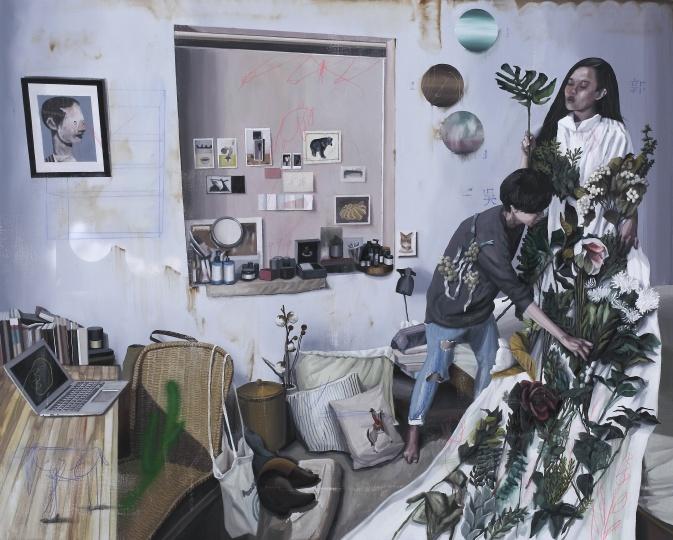 《植物学.C-制作一件花裙》 130×162cm 布面油画 2016