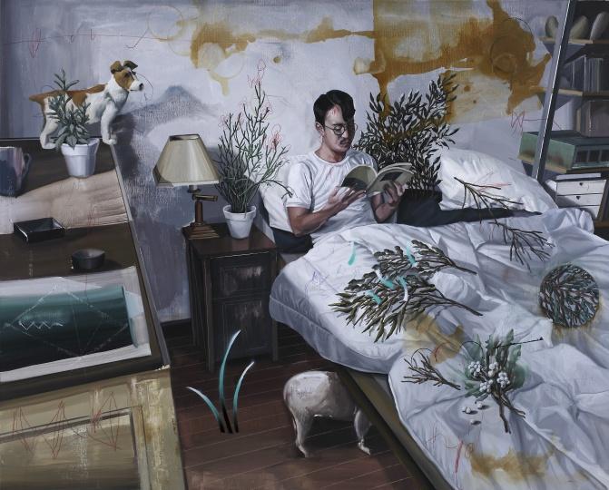 《植物学.L-枕边植物书》 130×162cm 布面油画 2016