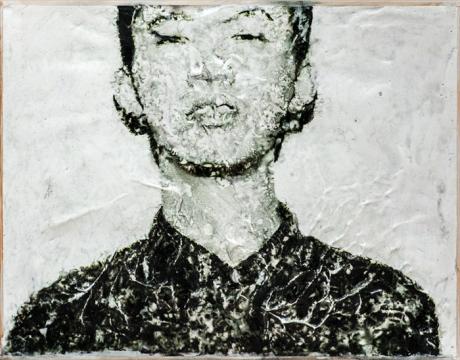 《两幅相连的肖像 1》 ,2016,胶片,综合材料,40×60 cm