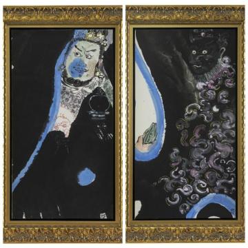 《多闻天王》 90×48cm 纸本设色 2016(左)《广目天王》 90×48cm 纸本设色 2016