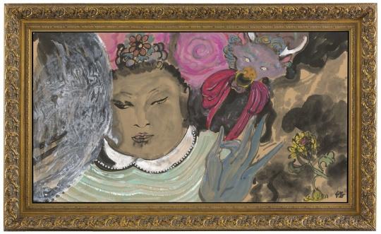 《天王与老牛》 96×180cm 纸本设色 2016
