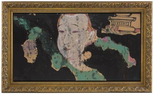 《观音与托塔天王》 97×180cm 纸本设色 2015