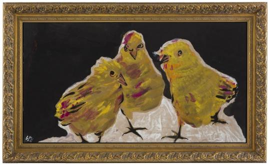 《三只雏鹰》 97×180cm 纸本设色 2015