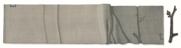 《梅开半树半开梅》 199x51,46x14cm,现成品绘画 姜吉安 2016