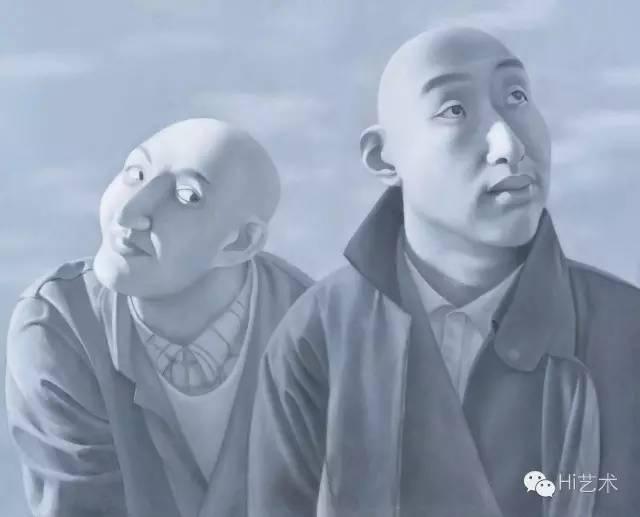 方力钧 《系列一之五》 81×100cm 布面油画 1990-1991 北京保利2016秋拍 成交价:1840万元