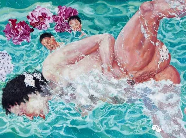 刘炜《泳客》 150×200cm 布面油画 1994  北京匡时2016秋拍 成交价:1437.5万元