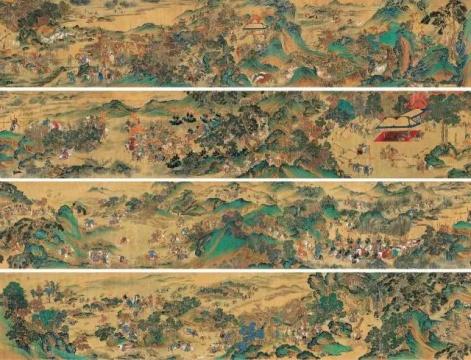 《元人秋猎图》59×1240cm 设色纸本手卷 约明代