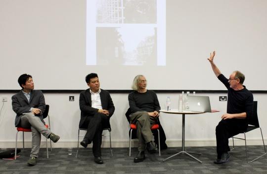 与会学者右起:Kenji Nishi,车飞,Eric Alliez,Michael Dutton