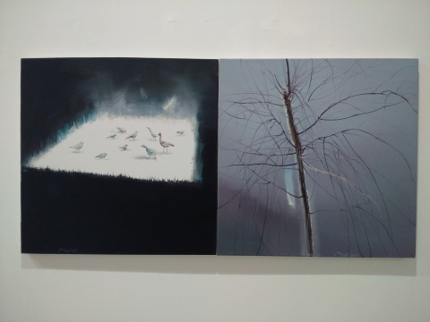 《天赐》(二联) 80×80cm×2 布面油画