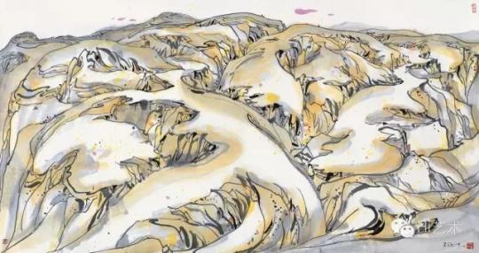 吴冠中 《老虎高原》 97×181cm 布面油画 1989  成交价:1667.5万元,由858号牌竞得