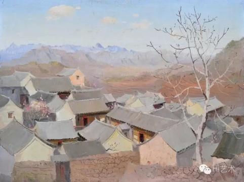 吴冠中 《京郊山村》 46×61cm 布面油画 1963  成交价:1437.5万元,由858号牌竞得
