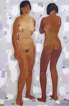 吴冠中 《姐妹(人体)》 92×60cm 布面油画 1990  成交价:1265万元,由858号牌竞得