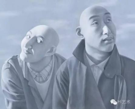 方力钧 《系列一之五》 81×100cm 布面油画 1990-1991  成交价:1840万元,由余德耀美术馆竞得