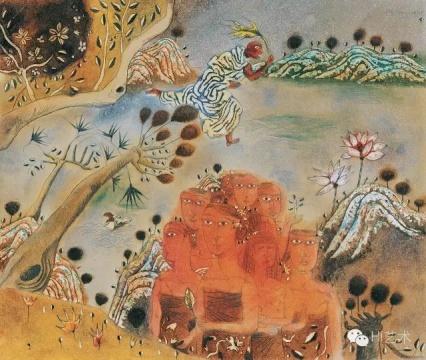 张晓刚《遗梦集之十二:生命之河》 27×32cm 纸板油画 1987  成交价:74.75万元