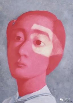 张晓刚《红色女孩》 91×64cm 纸本油画 2005  流拍