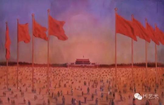 尹朝阳 《天安门广场》 280×140cm×3 布面油画 2003  估价:224.25万元