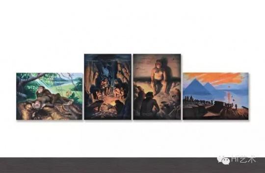 王兴伟 《进化的步伐》 92×129cm×2、129×92cm×2 布面油画 1997  成交价:644万元,由静园美术馆李冰竞得