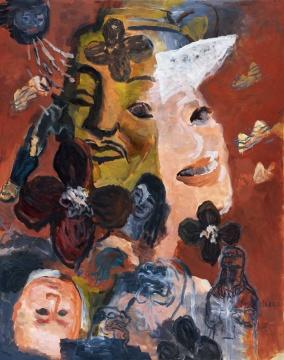 余友涵《我们的历史》 192×152cm 布面油画 1998  成交价:379.5万元,由电话委托的1537号牌竞得