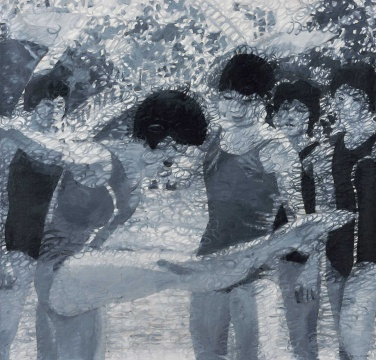 岳敏君《处理-6》 200×210cm 布面油画 2002  成交价:109.25万元,由谢扬手中的电话委托1139号牌竞得