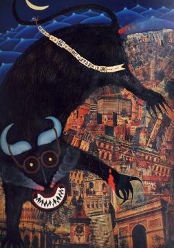 曹涌 《现代悲剧的图示之一》 114×83cm 布面油画 、拼贴 1986  成交价:287.5万元
