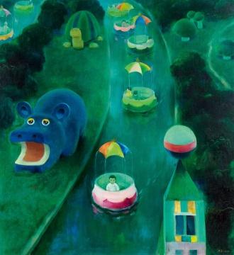 韦启美 《孩子们的河》 100×100cm 布面油画 1989  成交价:293.25万元,由龙美术馆竞得    本专场其他高价作品: