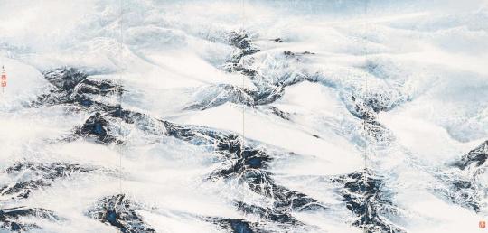 刘国松 《风雪之舞》 177.5×370cm 纸上彩墨 2014  成交价:1000.5万元