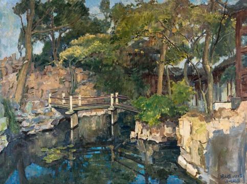 冯法祀 《苏州耦园》 90×120cm 布面油画 1987  成交价:161万元